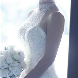 Casablanca High Neck Lace Wedding Dress